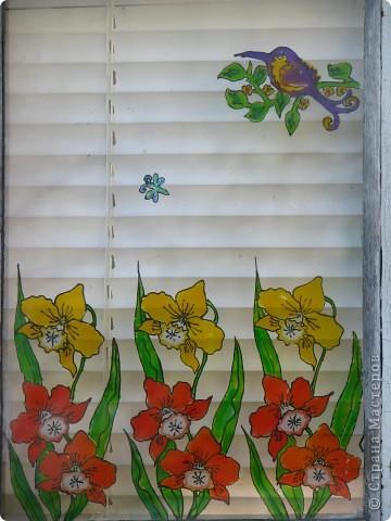 Продолжаю декорировать стекла на террасе в технике витраж. Работа далеко ещё не закончена, но очень уж хочется поделиться красотой (по моему мнению)! Это вид изнутри... фото 3