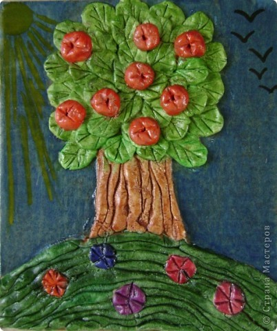 """Задание - """"Дерево"""" лепили мои ученики 4 класса школы искусств Это деревце Юли 14 лет фото 2"""