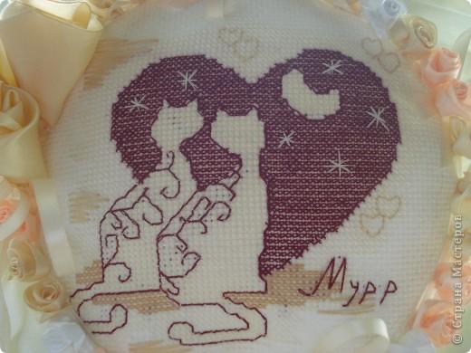 Такая вот подушечка получилась к юбилею свадьбы родителей. фото 2