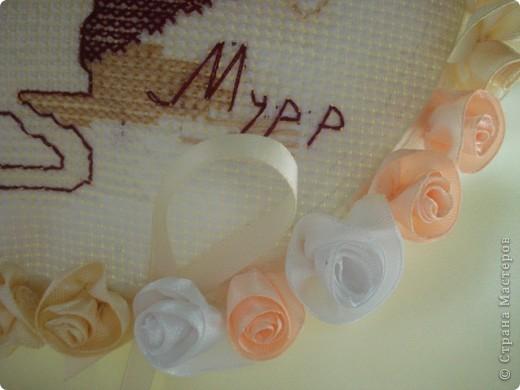 Такая вот подушечка получилась к юбилею свадьбы родителей. фото 4