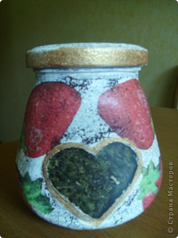 Все декупажу, остановиться не могу... Вот баночка с зеленым чаем в подарок. Наконец-то получился удачный кракелюр! фото 1