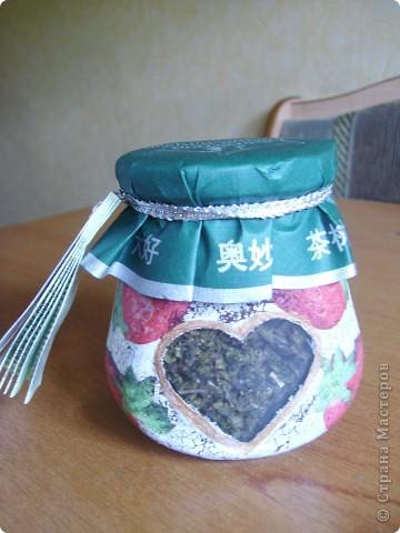 Все декупажу, остановиться не могу... Вот баночка с зеленым чаем в подарок. Наконец-то получился удачный кракелюр! фото 4