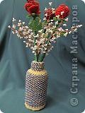 Эту вазочку с розами приготовила в подарок сестре мужа. Розочки сплела быстро, а вот с вазочкой пришлось повозиться - сначала долго искала подходящую тару, нашла, оплела, не понравилось. Не понравилось широкое горлышко и как цветы стояли в той вазочке, распустила, уффф, эту оплела за три дня. Результатом, в принципе, довольна, а как ВАМ???? Спасибо, что зашли в гости! фото 1