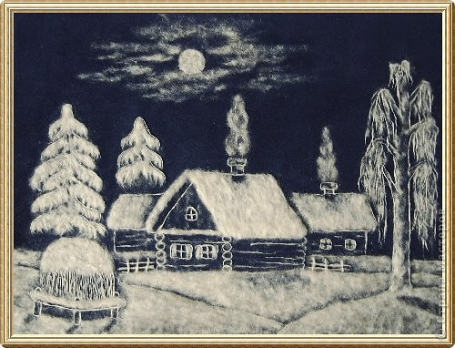 Картина из тополиного пуха