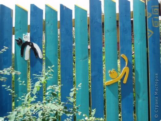 дело трехлетней давности, но вот решила похвастаться. поставили на даче новый забор. в память о старом, из низкого штакетника, выкрашенного в наглый голубой цвет, который лихо противостоял соседским зелено-коричневым крепостям, выкрасили забор в сине-голубую полоску. торцы досок и верхние скосы - ярко желтые. поглядели, порадовались. хорошо, но мало. берем краску, фанеру, лобзик и мужа :) сажаем на забор кошек фото 4