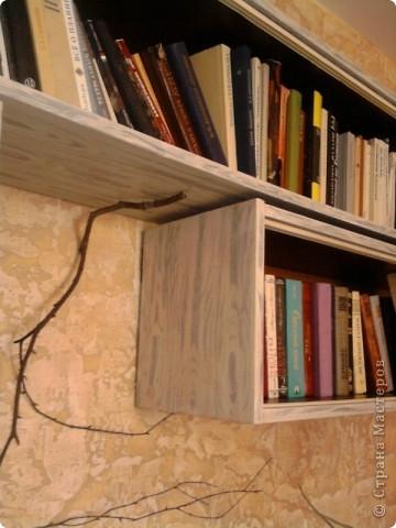 Наступило лето  и захотелось каких-то обновлений в интерьере. Одна стенка в моей комнате была отделана декоративной штукатуркой. Цвет мне несколько поднадоел и я решила ее перекрасить. Но книжные полки на этой стене выглядели как-то  уж очень уныло:темно-коричневые  советские стандартные полки(вот они ,на этой фотографии,правда на другой стене,с обоями). И я недолго думая решила тоже их подновить .   фото 16