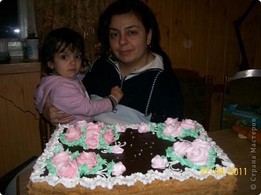 Тортик пражский,крем сметанный.Украшение-безе. фото 2