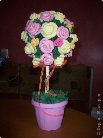 Ура!!! У меня зацвело розовое дерево! Спасибо Олисандре http://stranamasterov.ru/node/144894 в ее деревья невозможно не влюбиться!  Очень старалась, ну и что, что ствол коротковат, мне все равно нравится! фото 1