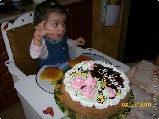 Тортик пражский,крем сметанный.Украшение-безе. фото 3