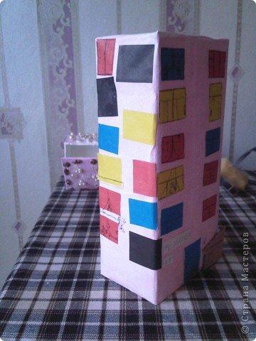 Домик из коробки из под сока фото 2