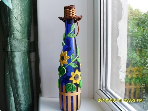Это моя первая попытка оформить бутылочку в дополнение к моим подсолнухам. Идею подсмотрела в дневнике у Лизы, спасибо ей большое! Ну а дальше- уже сама нафантазировала.  фото 1