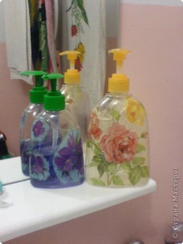 Декупаж баночки от жидкого мыла!! фото 1