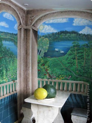Роспись стен в кухне фото 1