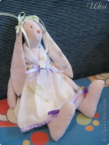 "Заюшка ""Патрисия"". Сшита из бязи , платье из шифона, подштанники из шёлка, наряд украшен лентами и гипюром. фото 5"