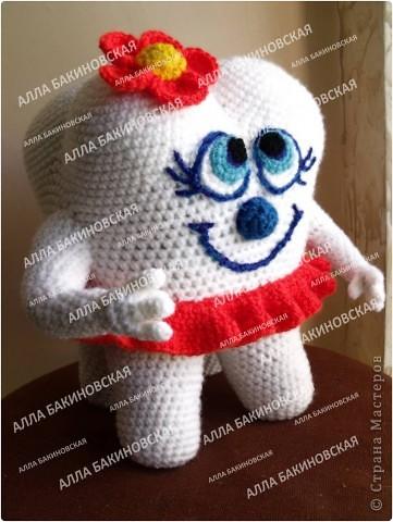 Игрушка Мастер-класс Вязание Вязание крючком Вязаная игрушка Всёлый Зубик - Авторский мастер класс Нитки Пряжа фото 3