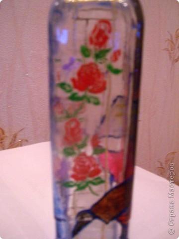 Бутылка - подарок мужу, росписана витражными красками. фото 4