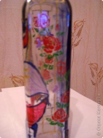 Бутылка - подарок мужу, росписана витражными красками. фото 2