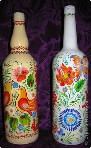 Бутылочки с петриковской росписью