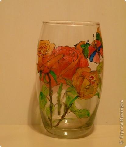 Большая красная роза. Витражные краски,контур фото 2