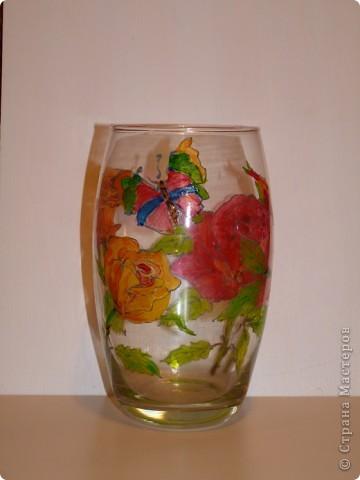 Большая красная роза. Витражные краски,контур фото 3