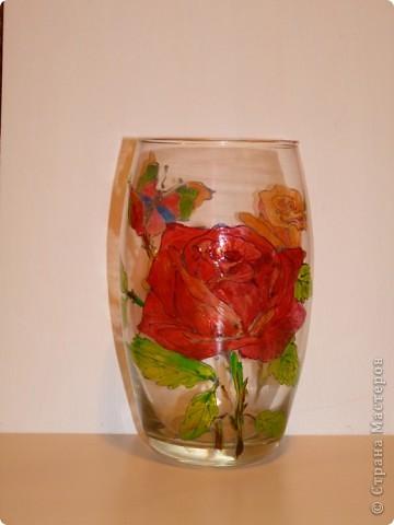 Большая красная роза. Витражные краски,контур фото 1