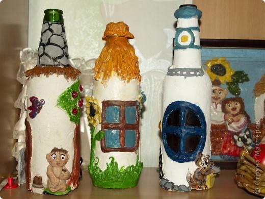 Как то раз я увидела очень прилестные бутылочки у Жужалица http://stranamasterov.ru/node/149774?c=favorite_c И после этого я просто заболела этими идеями и буквално за неделю у меня родились сразу 3 бутылочки фото 1
