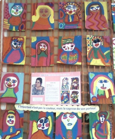 Работы детей (3-4 классы) на манер известных марокканских художников. В середине панно или чуть по ниже находится фото художника и его работы, а вокруг работы детей на манер этого художника. Получилось очень интересно, под час казалось, что некоторые работы детей превосходили работы самих художников.   Художник: Mohamed Hamri  (Мохамед Хамри) фото 2