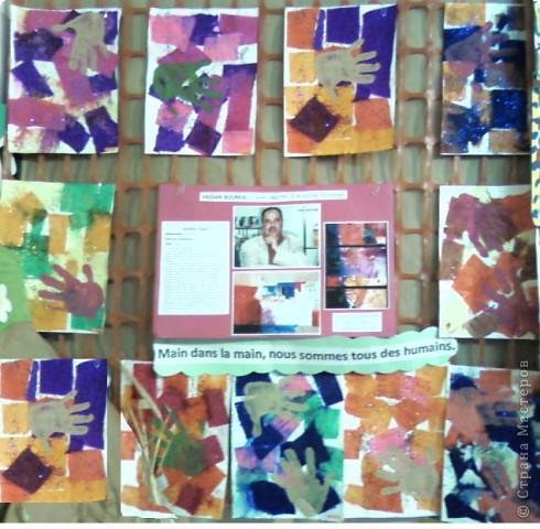Работы детей (3-4 классы) на манер известных марокканских художников. В середине панно или чуть по ниже находится фото художника и его работы, а вокруг работы детей на манер этого художника. Получилось очень интересно, под час казалось, что некоторые работы детей превосходили работы самих художников.   Художник: Mohamed Hamri  (Мохамед Хамри) фото 5