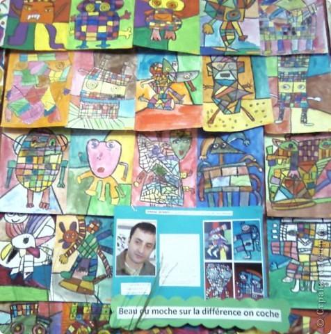Работы детей (3-4 классы) на манер известных марокканских художников. В середине панно или чуть по ниже находится фото художника и его работы, а вокруг работы детей на манер этого художника. Получилось очень интересно, под час казалось, что некоторые работы детей превосходили работы самих художников.   Художник: Mohamed Hamri  (Мохамед Хамри) фото 7