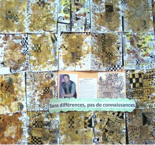 Работы детей (3-4 классы) на манер известных марокканских художников. В середине панно или чуть по ниже находится фото художника и его работы, а вокруг работы детей на манер этого художника. Получилось очень интересно, под час казалось, что некоторые работы детей превосходили работы самих художников.   Художник: Mohamed Hamri  (Мохамед Хамри) фото 8