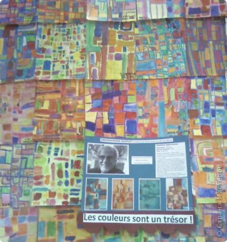 Работы детей (3-4 классы) на манер известных марокканских художников. В середине панно или чуть по ниже находится фото художника и его работы, а вокруг работы детей на манер этого художника. Получилось очень интересно, под час казалось, что некоторые работы детей превосходили работы самих художников.   Художник: Mohamed Hamri  (Мохамед Хамри) фото 10