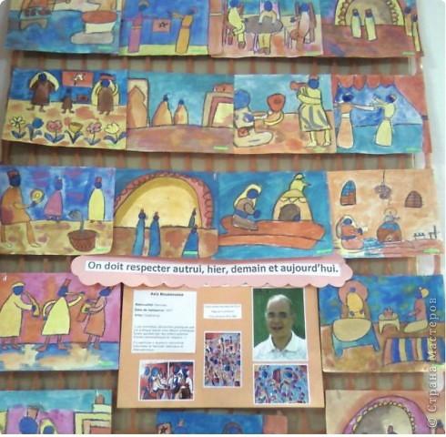 Работы детей (3-4 классы) на манер известных марокканских художников. В середине панно или чуть по ниже находится фото художника и его работы, а вокруг работы детей на манер этого художника. Получилось очень интересно, под час казалось, что некоторые работы детей превосходили работы самих художников.   Художник: Mohamed Hamri  (Мохамед Хамри) фото 12