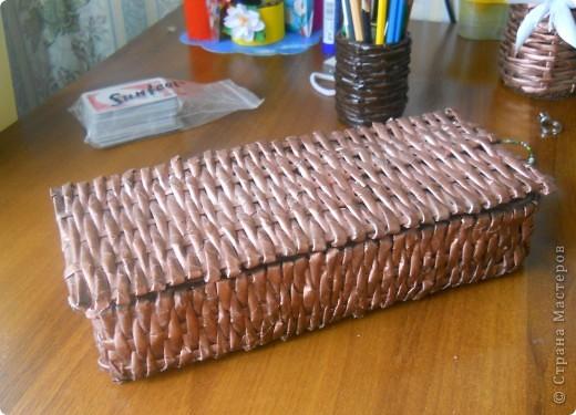 Плетёная шкатулочка для рукоделия. фото 1