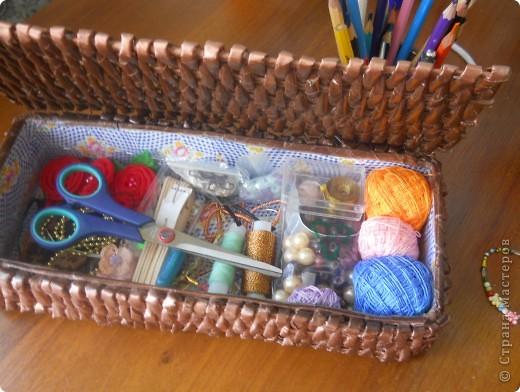 Плетёная шкатулочка для рукоделия. фото 3