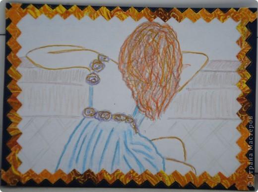 """Вот и я захотела поучаствовать в конкурсе. Рисунки нарисованы и раскрашены мною. Обратная сторона - отрывки """"Алых парусов"""", состаренные с помощью кофе фото 3"""