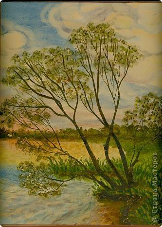 Моя Акварель.Закат на реке. фото 1
