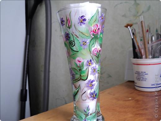 Очень захотелось научиться самой росписывать предметы. Вот мои работы. Краски акриловые. Пыталась под китайскую роспись, когда плоской кисточкой набирают две контрастные краски. фото 5