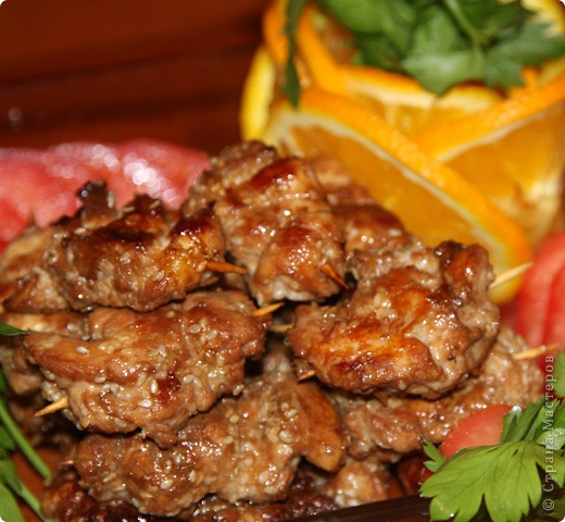 Мини-шашлычки из куриного филе фото 1