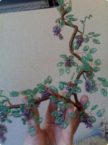 Бисер перламутровый: крупный  использовала на виноград,  более мелкий  - на листики.  фото 1