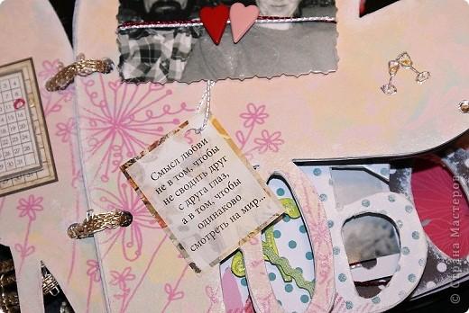 вот такой альбомчик я решила сделать на 30-летие совместной жизни родителей. Сразу оговорюсь, что это мой первый альбом, тем более такой сложной формы. Как оказалось, очень трудно аккуратно вырезать и приклеить бумагу на буквы.  фото 13
