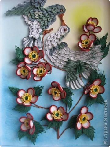 Вот такая картина с голубками у меня получилась. Прям любовь и голуби. Размер работы 30 на 40 см. фото 1