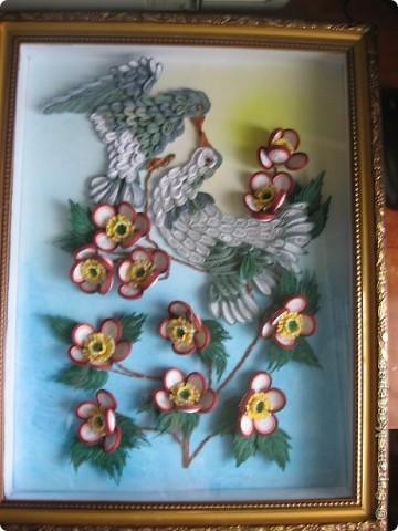 Вот такая картина с голубками у меня получилась. Прям любовь и голуби. Размер работы 30 на 40 см. фото 11