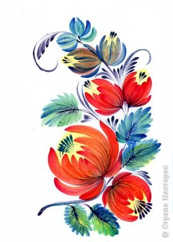 """Традиционные цветы в петриковской росписи называются """"цыбулька""""  ( луковичка) и кучерявка. Они представляют собой не какое-то реальное растение, а являются стилизованной формой, элементы которой могут напоминать цветы пиона, георгина, тюльпана, майора, хризантемы, астры или какого-либо полевого цветка.    Цыбулька может быть выполнена как круглой кистью, так и кошачьей. Напоминает такой цветок по форме луковичку, то плотно закрытую с симметрично расположенными лепестками ( два верхних и нижний цветы на рисунке), то наполовину раскрытую с серединкой самой разной формы (центральный цветок).В цыбульке обычно делается в середине цветка более светлый подмалевок для создания объема. Используются обязательно переходные мазки, в которых цвет плавно перетекает из одного тона в другой . В середине цветка они короче и прямее, а по бокам длиннее и изогнуты к середине. Нижние лепестки отходят в сторону, создавая раскрытость. фото 1"""