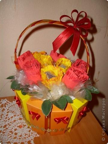 Вот такая корзиночка из конфет у меня получилась! фото 1