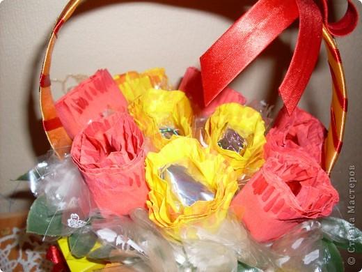 Вот такая корзиночка из конфет у меня получилась! фото 2