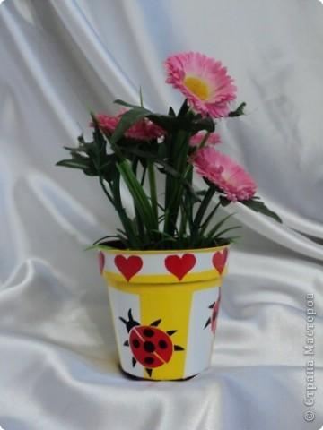 Горшочек  для цветов обклеен самоклеящейся пленкой фото 1