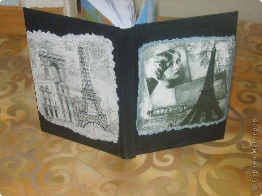 сестра подарила обычный ежедневник, а стал необычный, использовала салфетку и распечатку фото 1