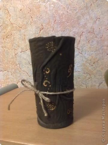 Стеклянный стаканчик отделанный натуральной кожей. фото 1