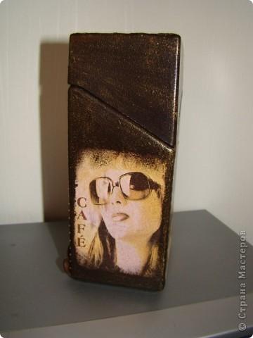 """ваза """"счастье"""" пока без лака. грунт. структурная паста, салфетка, пасту пошкурила, покрасила, прошлсь интерферентной краской и чуть темно-коричневой. фото 12"""