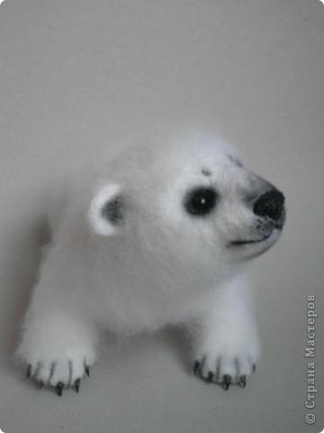 Медвежонок выполнен в технике сухого валяния. Высота 17 см.,длина 15 см. Глазки - стекло, коготки- пластик. фото 4